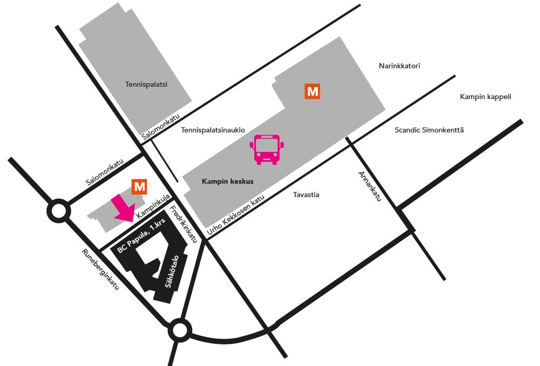 Kamppi Sähkötalo BC Papula kartta