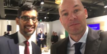 Googlen toimitusjohtaja Sundar Pichai ja Cursorin David Lindström