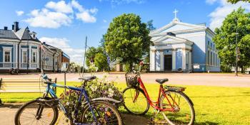 Haminan keskustaa ja polkupyörät
