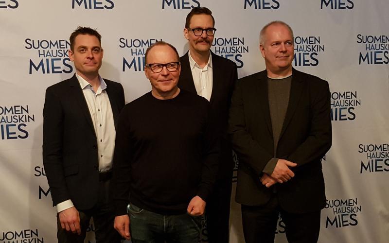 Suomen hauskin mies -elokuvan tekijöitä, kuva: Marianne Mokkala-Räty
